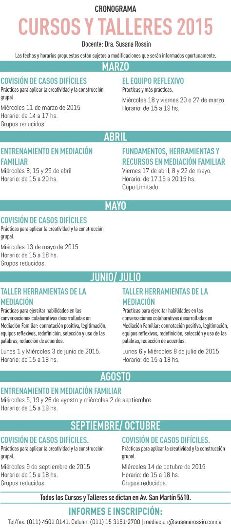 Susana Rossin - CURSOS Y TALLERES 2015